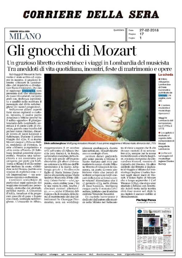 Corriere della Sera per Ennio Cominetti